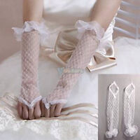 "12"" White Fingerless Bridal Wedding Dress Lace Gloves--NEW!!!"