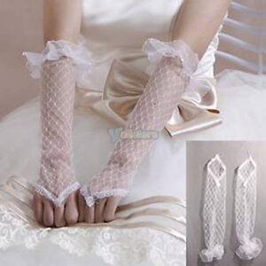 "12"" White Fingerless Bridal Wedding Dress Lace Gloves--NEW!!!"