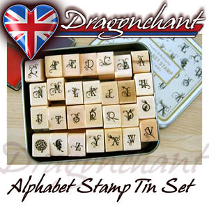 28pcs-Alphabet-Rubber-Stamps-Flower-Butterfly-Vintage-Style-Tin-Box-Set-UK