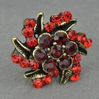Red Rhinestone Retro Copper Flower Cocktail Ring--NEW!!