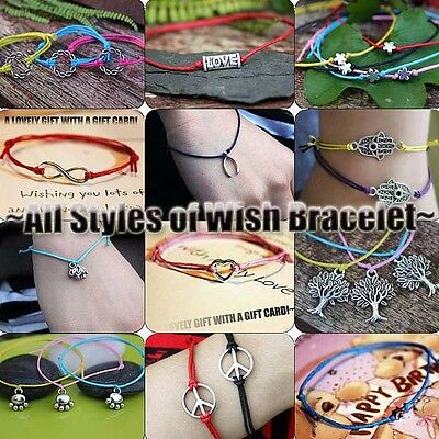 Hippy All Style Charm Infinity Star Love Peace Friendship Karma Wish Bracelet UK