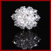 Clear Crystal Glass Flower Faceted Beads Adjustable ring-NEW!~!