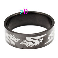 Mens black Stainless Steel Dragon ring Sz10-NEW!