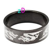 Mens black Stainless Steel Dragon ring Sz10-NEW!