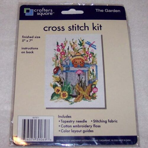 Counted Cross Stitch Kit Cat Kitty Water Can Garden Flower Crafters Square Craft
