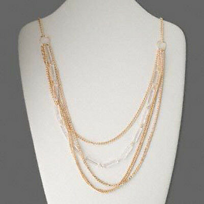 Gold Layered Multi Chain Necklace Art Deco Steampunk Jewelry 36 Inch