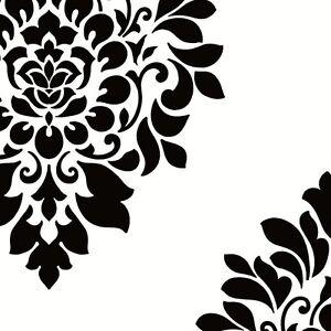 Wallpaper Large Black Block Print Damask On White Ebay