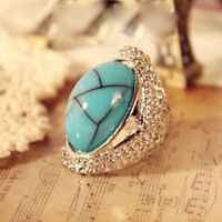 Manmade Blue Stone Ring Size #7 Silver--NEW!
