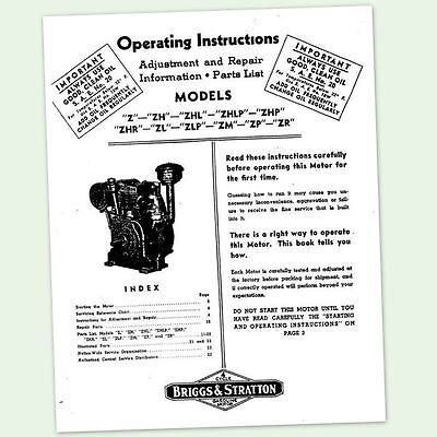 BRIGGS AND STRATTON MODEL Z ZH ZHL ENGINE OWNERS OPERATORS MANUAL MAINTENANCE BS