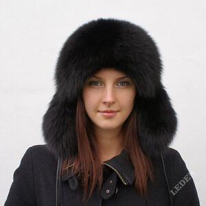 Luxus Pelzmütze aus echtem schwarz Fuchs! NEU Pelz Mütze Ushanka Fellmütze Kappe