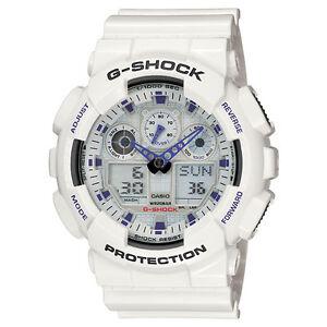 Mens-Casio-G-Shock-White-X-Large-Analog-Digital-Watch-Model-GA100A-7A