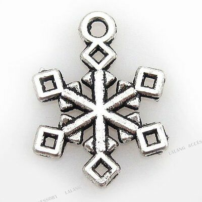 50x 140131 Wholesale Charms Silvery Snowflakes Pendants Fit necklace 20x15mm