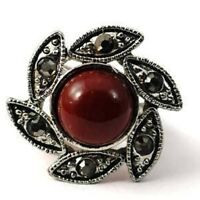 fashion deep red retro flower style ring--NEW!