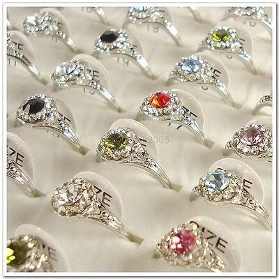 Wholesale Lots of 50PCS Silver Plated Rhinestone Crystal Rings 50A09 on Rummage