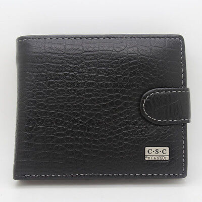 Mens Black Real Genuine Leather Bifold Clutch Wallet Coin Purse Dollar Package on Rummage (1/1)
