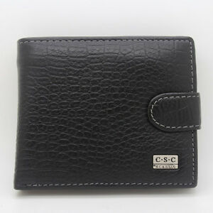 Mens-Black-Real-Genuine-Leather-Bifold-Clutch-Wallet-Coin-Purse-Dollar-Package
