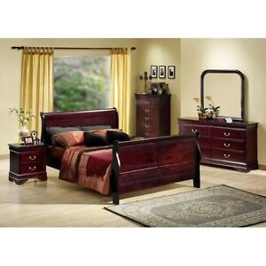 Elegant Queen Cherry Sleigh Bedroom Set Houston Only Ebay