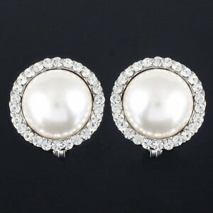 #0e90a Gorgeous Round Circle Clear Crystal Faux Pearl Clip On Earrings New