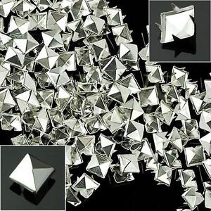 100pcs 10mm Prong Metal Square Pyramid Punk Spike Studs Spots DIY Leathercraft