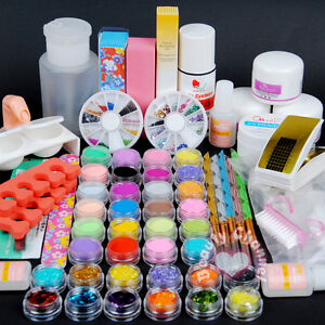 36 Acrylic Powder Primer UV Liquid Nail Art Tip Dust Strip Hexagon Kits Set 110