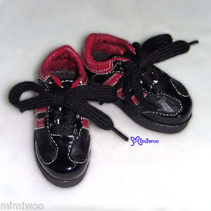 Super-Dollfie-Dream-SD-1-3-Bjd-60cm-Obitsu-Shoes-Sport-Sneaker-Black-Red-Stripes