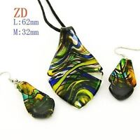 Vogue Murano Lampwork Glass Leaf Necklaceand Earrings--NEW!