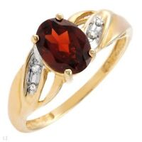 BRAND NEW RING W / DIAMONDS & GARNET CRAFTED IN10K YELLOW GOLD