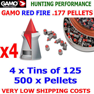 Gamo Red Fire .177 Airgun Pellets 4(tins)x125pcs New