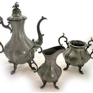 LOT-3-pcs-ANTIQUE-REED-BARTON-SILVER-Plate-SILVERPLATE-COFFEE-TEA-12-POT-SET