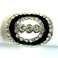 Black Bend Oval Diamante Gemstone Ring --NEW!!