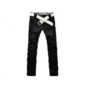 New Mens Stylish Straight Leg Cotton Slim Fit Trousers Casual Long Pant 3 Colors