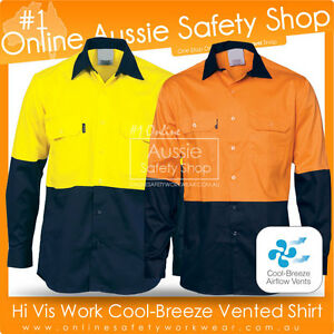 Hi vis light weight cotton work cool breeze breathable for Lightweight breathable long sleeve shirts