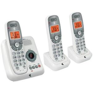 TELSTRA 12250 DECT DIGITAL TRIPLE 3 HANDSET CORDLESS PHONE+ANSWERING MACHINE