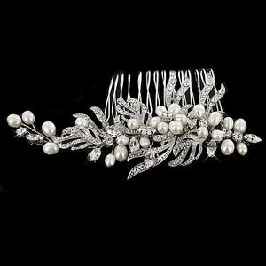 Wedding Bridal Swarovski Crystal Diamante Vintage Silver Ivory Pearl Hair Comb