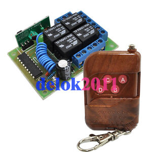 12V 4 Channel RF Wireless Remote Control Switch Receiver with Controller