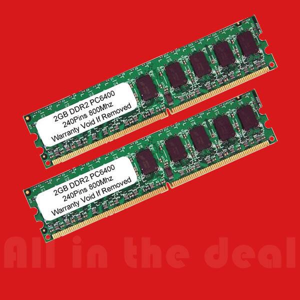 4gb Kit Ddr2 Pc2-6400 800 Mhz 2gb X 2 Desktop 240 Pin 4 G...