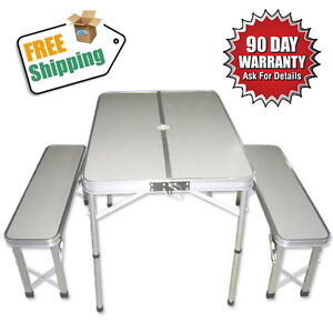 NEW Portable Folding Picnic Camping Set Aluminium Table with 2 Bench Chair/Seat