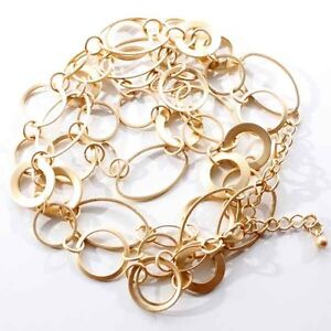 GOLD Plated*Chain Loop*Fashion*Designer*Long*Necklace