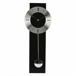 WM WIDDOP BLACK AND SILVER MODERN PENDULUM WALL CLOCK