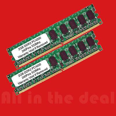 4gb Kit 2 X 2gb Ddr2 Low Density Pc2-4200 533 Mhz 240pin Desktop Memory Ram