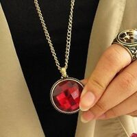 Red crystal chain necklace
