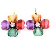 Vintage&Antique Crystal Resin Flower Shape Stud Earring-NEW!