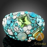 Arinna Blue Zircon/ Peridot Cocktail Ring --NEW!