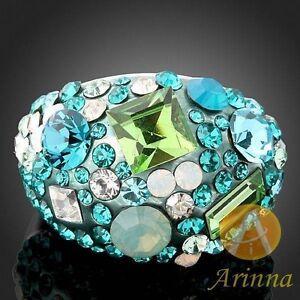 Arinna Blue Zircon/ Peridot Cocktail Ring --NEW!