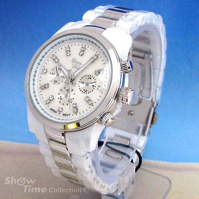 White Pearl Silver Case Fashion Women's Bracelet Quartz Watch