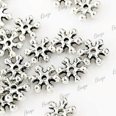 250pcs Tibetan silver mini Snow Flake Spacer Beads 8x7mm TS0066