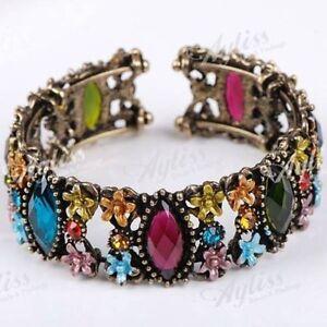 Crystal Resin Multicolor Flower Bracelet Bangle Cuff--NEW!!