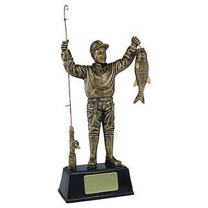 Gold Fisherman Fishing Trophy Award, Engraved FREE