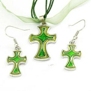 Women Fashion Cross Necklace Earring Set--NEW!