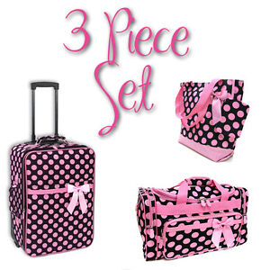 Polka Dot 3 Piece Luggage Set - 1 Suitcase, 1 Duffel, 1 Tote - LD Black/Pink
